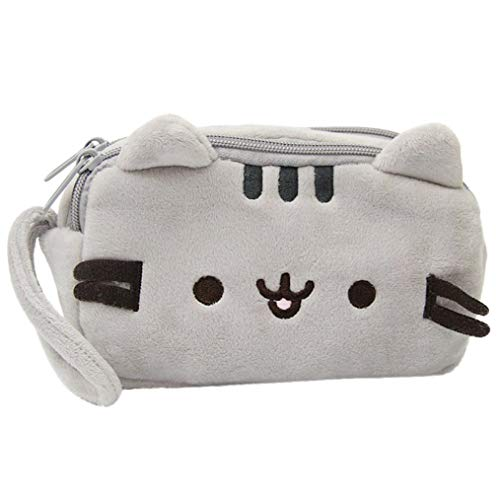 Storage Bag, Yezijin Cat Pencil Case Cute Plush Pen Bag Makeup Pouch Cosmetic Bag Kid Stationery Gift