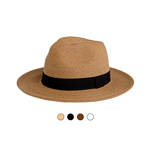 Pineapple&Star Sun Straw Fedora Beach Hat Fine Braid UPF50+ for Both Women Men(Small, Brown)
