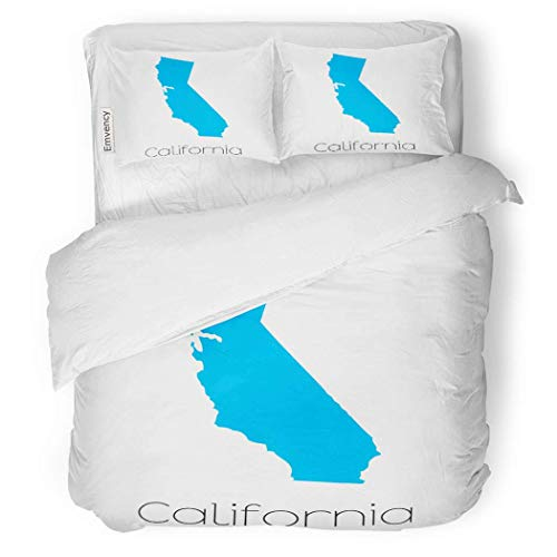 - PENGTU PremiumDuvet Cover Set Outline Map of The State California Election Shape Decorative Bedding Set with Pillow Case Twin Size
