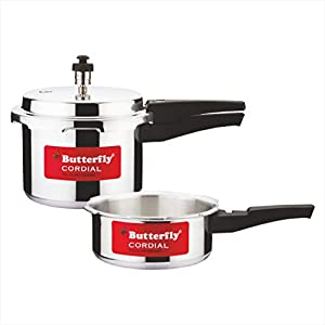 Butterfly Cordial 2 L, 3 L Non Induction Bottom Pressure Cooker (Aluminium)
