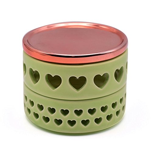 Exembe Trinket Art & Collectibles Two Compartments Box Greenery Rose Gold Lid Accesories Organizer