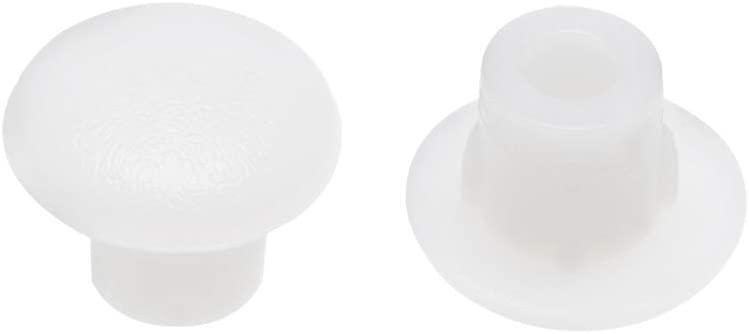 uxcell Screw Cap Cover,50Pcs 5mm Dia White Plastic Locking Hole Plug Button Top Flush Type for Cabinet Cupboard Shelf