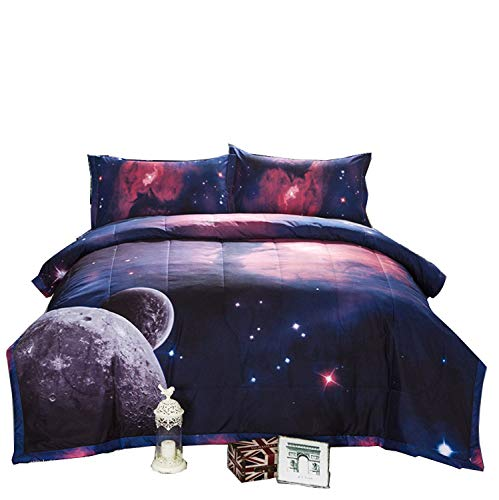 A Nice Night Galaxy Comforter 3D Printing Never Fade Quilt Outer Space Comforter Sets with 2 Matching Pillow Covers