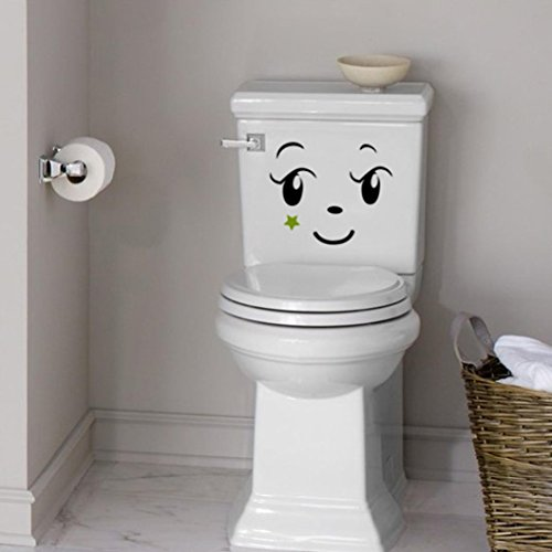 Wall sticker, Hatop Toilet Toilet Stuck Lovely Smiling Face Free To Stick Notebook Stick (A) by Hatop (Image #2)