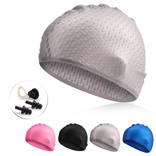 QXQY Swim Cap for Long Hair,Silicone Swimming Cap for Women Men 3D Ergonomic Design with Nose Clip and Ear Plugs (Gray)