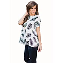 Women Tops, Paymenow O Neck Feather Printed Loose Beach Casual T-Shirt Tops Blouse