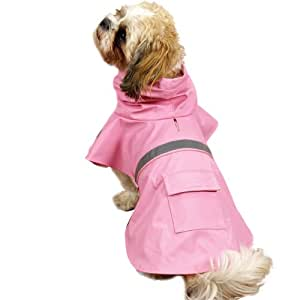 Guardian Gear Vinyl Dog Rain Jacket with Reflective Strip, X-Small, Pink