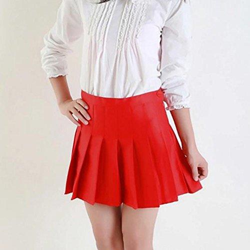 Filles Preppy Taille Rouge School Jupe Uniformes Femmes Jupes Style Plisse Haute Jupe Mini hibote Vintage Doux pxqwvgI0q