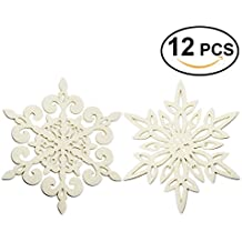 Coasters Set of 12 Felt Absorbent Snowflake Coaster for Drinks - Desktop Protection Prevent Furniture Damage - Ivory White Absorbs Moisture - Tabletop Drink Coasters - 2 Style