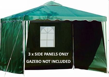 180g POLYESTER SET OF 3 WINDOW GAZEBO 3m REPLACEMENT SIDE PANELS WALLS GREEN