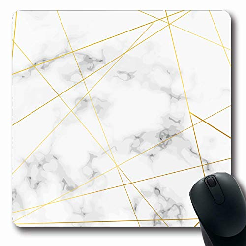 Oblong Divided - LifeCO Computer Mousepads Border Bright Golden Thin Triangle Pattern Lines Over Marble Stone Abstract Chic Divided Gold Design Oblong Shape 7.9 x 9.5 Inches Oblong Gaming Mouse Pad Non-Slip Rubber