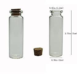 Shxstore 2.8 Inch Small Mini Glass Bottles Jars with Cork Stoppers for Art Crafts and Decorations, Pack of 20