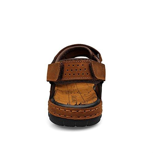 SK Studio Men's Casual Leather Slides Sandals Fisherman Shoes Brown oPUqv0jy5V