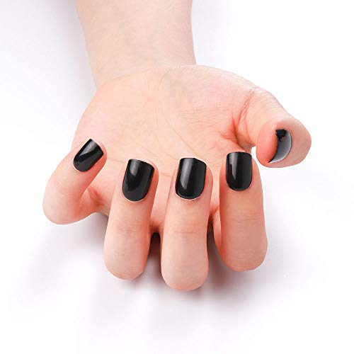 24 Pcs 12 Sizes Solid Color Fake Nails Short Press on Style Black Full Cover Oval Nail Art Tips for Finger (Black)
