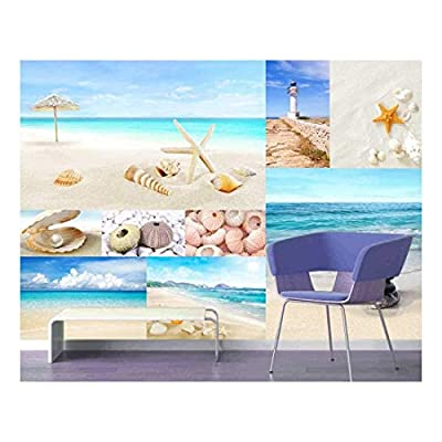 That's 100% USA Made, Unbelievable Artistry, Peel and Stick Wallpapaer Beach and Marine Theme Photos Collage Removable Large Wall Mural Creative Wall Decal