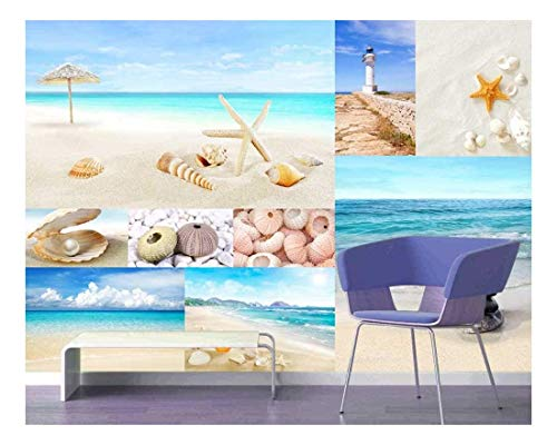 Peel and Stick Wallpapaer Beach and Marine Theme Photos Collage Removable Large Wall Mural Creative Wall Decal
