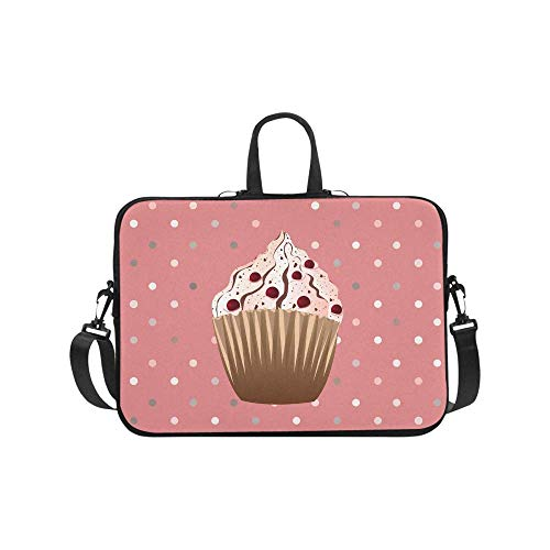 Sweet Cranberries Cupcake Desserts with Polka Dots Waterproof Neoprene Laptop Sleeve CaseNotebook Shoulder Bag 17 17.3 Inch with Handle & Strap fit MacBook HP Dell Acer Woman Man