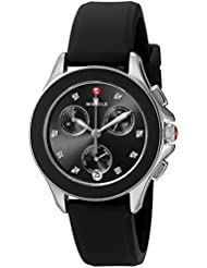 MICHELE Womens Quartz Stainless Steel and Silicone Casual Watch, Color:Black (Model: MWW27C000002)