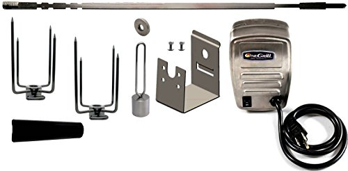 Cheap OneGrill Weber Fit Stainless Steel Complete Grill Rotisserie Kit W/13 Watt Electric Motor; 3/8 Inch Square Spit Rod (Fits: 300 Series 3 Burner Weber Genesis/Genesis II/Spirit/Spirit II)