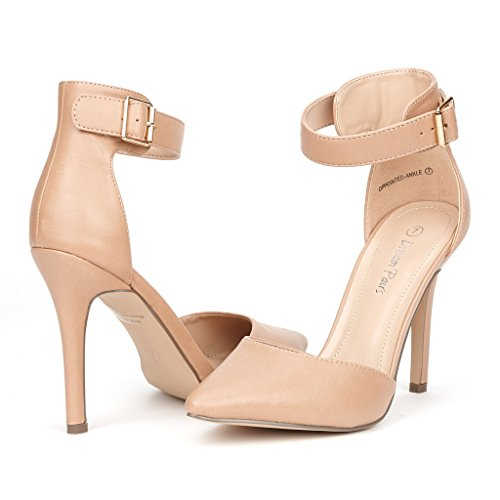 DREAM+PAIRS+OPPOINTED-ANKLE+Women%27s+Pointed+Toe+Ankle+Strap+D%27Orsay+High+Heel+Stiletto+Pumps+Shoes+Nude+Pu+Size+10