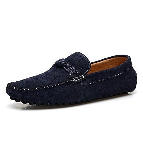 Sunrolan Menns Uformelle Semskede Loafers Skli På Flate Mokasiner Kroner Dagdriver Tilfeldig Båt Drivende Sko 7597 Navy Blue