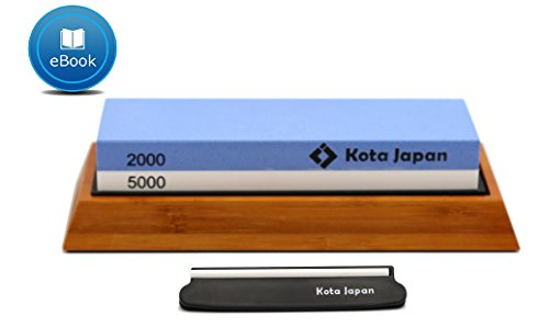 (Kota Japan Premium Sharpening Stone 2000-5000 Whetstone Knife Sharpener. EASY USE eBook & Blade Guide. No-Slip Bamboo Wood Base. GUARANTEED to Give You Razor Sharpness.)
