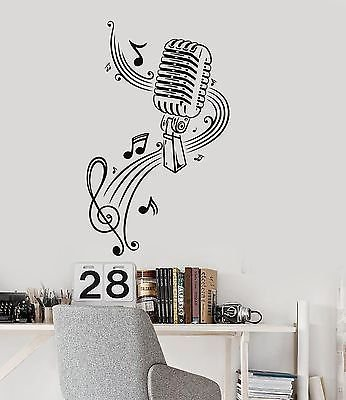 Music Wall Decal Microphone Singer Notes Vinyl Stickers VS77
