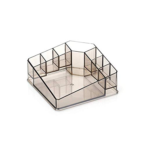 JiangYuenly&12 Acrylic Transparent Desktop Cosmetic Storage Box, Compartmentalized Skin Care Lipstick Storage Rack (Mess Up Your Lipstick Not Your Mascara)