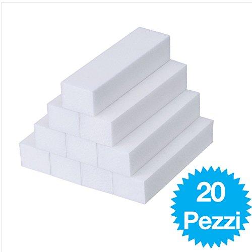 20 Pezzi Bianco Mattoncini di Levigatura Lime Grinta di Manicure Strumento per Nail Art Punti zero81store®