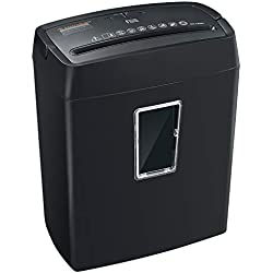Bonsaii 6-Sheet Cross-Cut Paper Shredder, High-Security P4 Office Shredders with 3.5 Gallons Wastebasket Capacity and Transparent Window, Black (C204-C)
