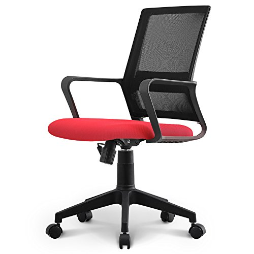 Neo Chair Managerial Office Chair Conference Room Chair Desk Task Computer Mesh Home Chair w/Armrest : Ergonomic Lumbar Support Swivel Adjustable Tilt Mid Back Wheel, (Bern Red)