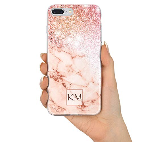 (TULLUN Custom Rose Gold Marble & Glitter Effect Personalized Name Initials Text Hard Phone Case Cover for iPhone - Design V3 - for iPhone)