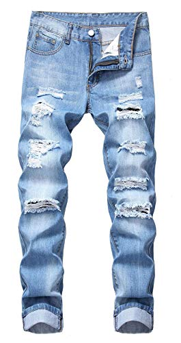 GARMOY Mens Mid Waist Casual Skinny Ripped Jeans Straight Leg Distressed Denim Pants 305 Light Blue 30