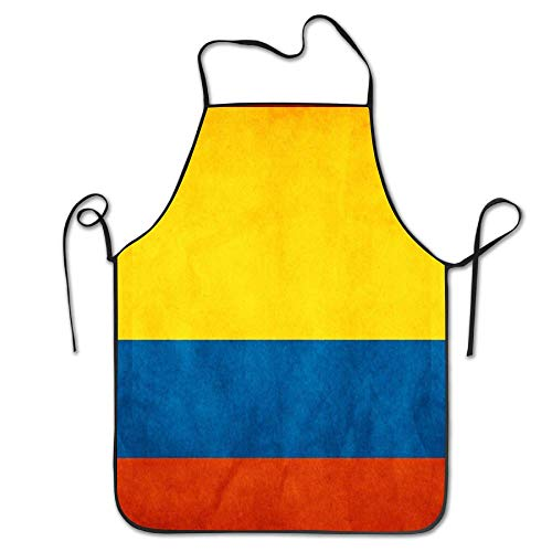 Lead-Do Colombia Flag Map Kitchen Aprons Comfortable Adjustable Chef Bibs for Cooking Grill&Baking