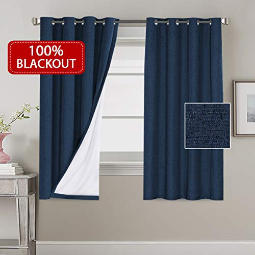 H.VERSAILTEX 100% Blackout Faux Linen Thermal Curtains for Bedroom Energy Efficient Lined Blackout Drapes Window Treatment Set 52 x 63 inches Curtain Panel Grommet Top, Navy, Sold by Pair (Best Blackout Window Treatments)