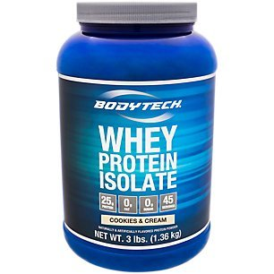 BodyTech Whey Protein Isolate Powder with 25 Grams of Protein per Serving BCAA's Ideal for PostWorkout Muscle Building Growth, Contains Milk Soy Cookies Cream (3 Pound) Review