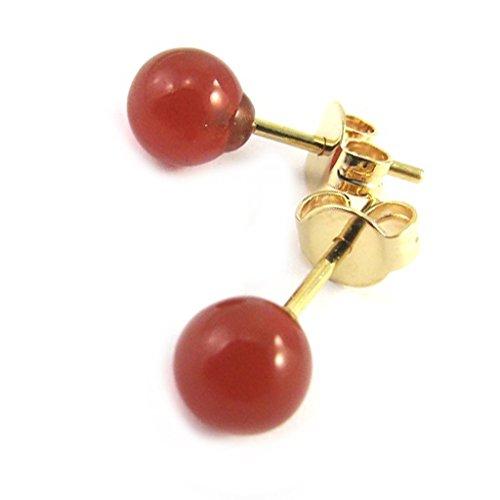 Les Trésors De Lily [M6683] - Boucles plaqué or 'Mineralia' agate rouge - 6 mm
