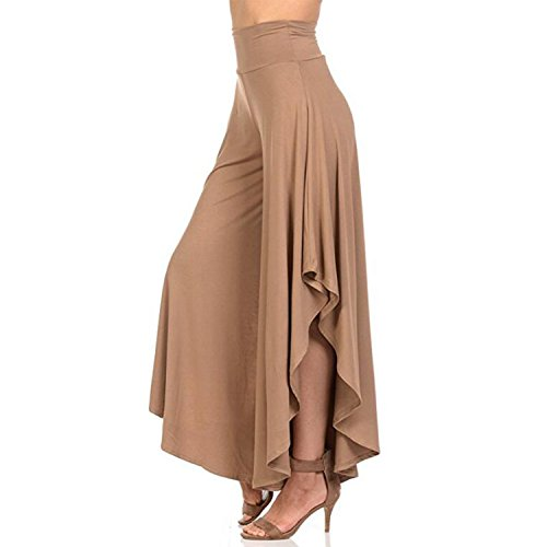 YOFIT Women's Elegant High Waist Palazzo Trousers Wide Leg Bootleg Pants Baggy Trousers Harem Pants Long Loose Flared Pants Khaki L