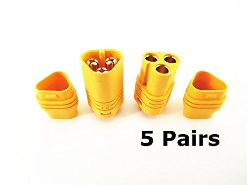 5 Pairs MT60 3.5mm 3-wire 3-pole Bullet Connector Plug Set for RC ESC to Motor 5 Male Connectors & 5 Female Connectors (Rc 3 Sheath)