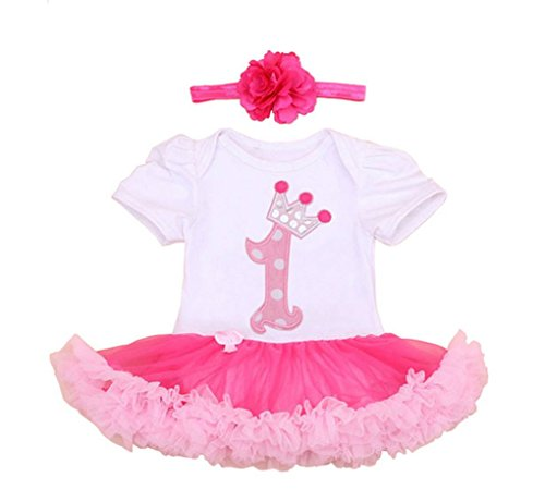 [Rush Dance Infant Baby Girl 1st First Birthday Celebration Tutu Romper Dress Set (Romper & Headband, One with Hot Pink] (Batman And Robin Tutu Costumes)