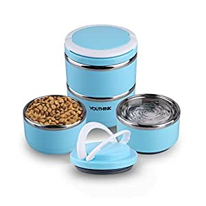 YOUTHINK Travel Dog Bow Stainless Steel Fit Water and Feed Bowl Portable Spill Proof Pet Bows Multiple Layers Pet Water Food Storage Container with Handle for Dog Cats Outdoor Traveling