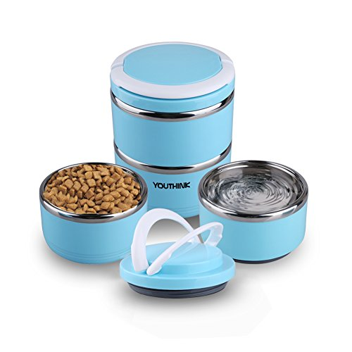 Spill Proof Dog Cat Travel Bowl Portable 304 Stainless Steel Multiple Layers Pet Water Food Storage Container with Handle for Pet Outdoor Traveling Raised Feeding (2 Layer Travel Bowl)
