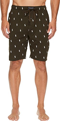 Polo Ralph Lauren Men's All Over Pony Player Jersey Sleep Shorts Rich Olive/Chic Cream All Over Pony - Country Polo Ralph Lauren