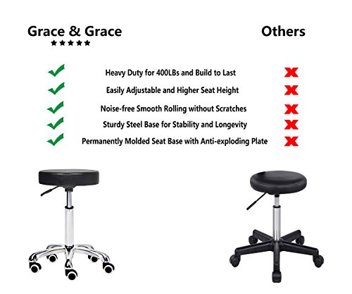 Grace & Grace Height Adjustable Rolling Swivel Stool Chair with Round Seat Heavy Duty Metal Base for Salon,Massage, Factory, Shop (Black)