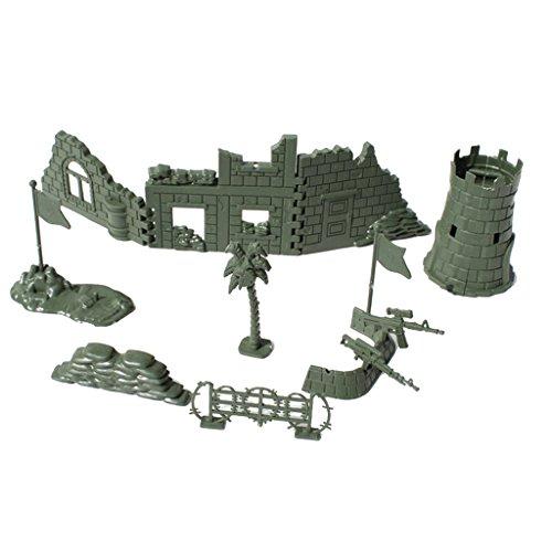 Baoblaze Set Army Base Set World War II Army Solider Accs Blindage Sandbag Collectibles Army Sand Scene Model Toy