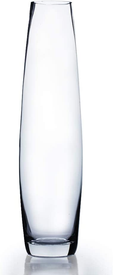 """WGV Tall Bullet Glass Vase, Width 5"""", Height 20"""", (Multiple Sizes Choices) Clear Oval Urn Floral Planter Container Storage Centerpiece, Wedding Event Home Decor, 1 Piece (VFV0419)"""