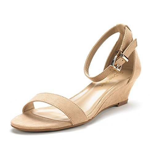 - DREAM PAIRS Women's Ingrid Nude Suede Ankle Strap Low Wedge Sandals Size 7.5 M US