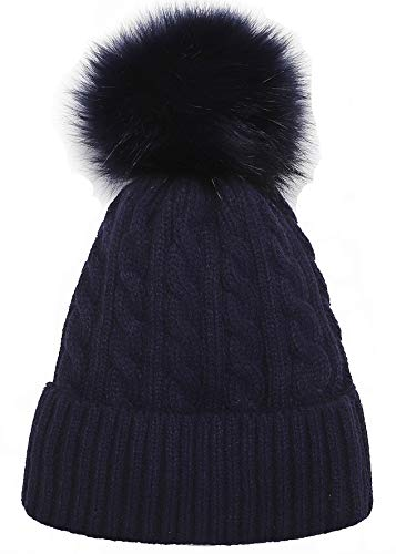Women Knit Hat Winter Beanie with PomPom Slouchy Hats Skull Cap Thick Fleece Lining(Navy blue)