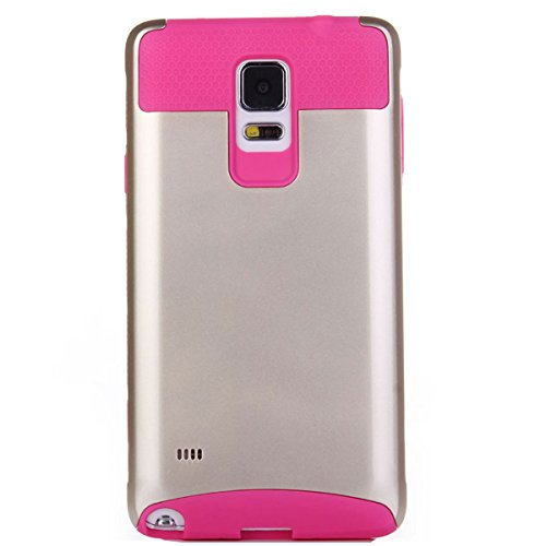 Note 4 Case, Lumsing™ Fashion Hard Soft Heavy Duty Shockproof Protective Case Hybrid Armor Protection Defender Case High Impact Case for Samsung Galaxy Note 4 (Rose/Gold)