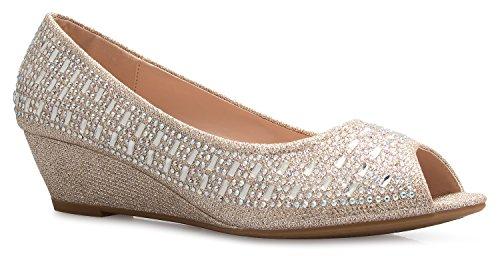 OLIVIA K Women's Classic Open Toe Kitten Heel Wedges | Dress, Work, Party Low Heeled Champagne Glitter